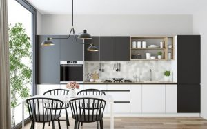 Kitchen Set Gaya Monokrom - Lemari Baju Minimalis